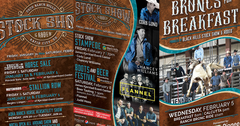 Image of various Black Hills Stock Show graphics.