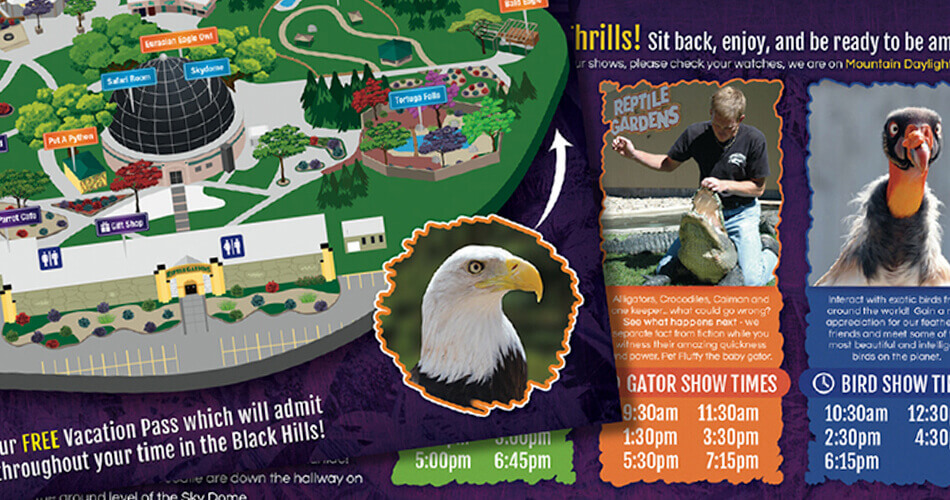 Image of various Reptile Gardens graphics.