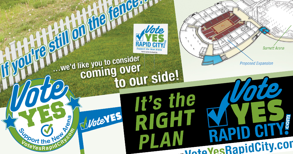 Imaqe of Vote Yes Rapid City campaign pieces.